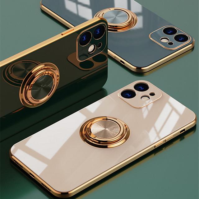 téléphone Coque Pour Apple Coque Arriere Silicone iPhone 12 Pro Max 11 SE 2020 X XR XS Max 8 7 Antichoc Avec Support Plaqué Couleur Pleine TPU