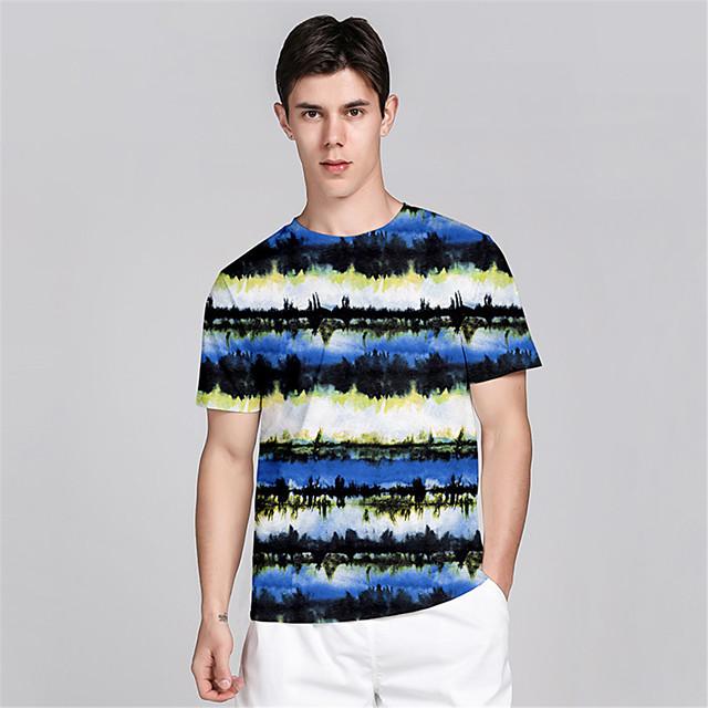 Men's T shirt 3D Print 3D Graphic Prints Landscape 3D Print Short Sleeve Daily Tops Casual Beach Blue
