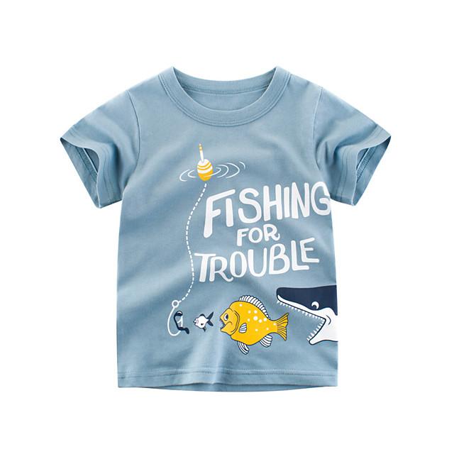 Kids Boys' T shirt Tee Animal Short Sleeve Print Tops Cotton Streetwear Blue
