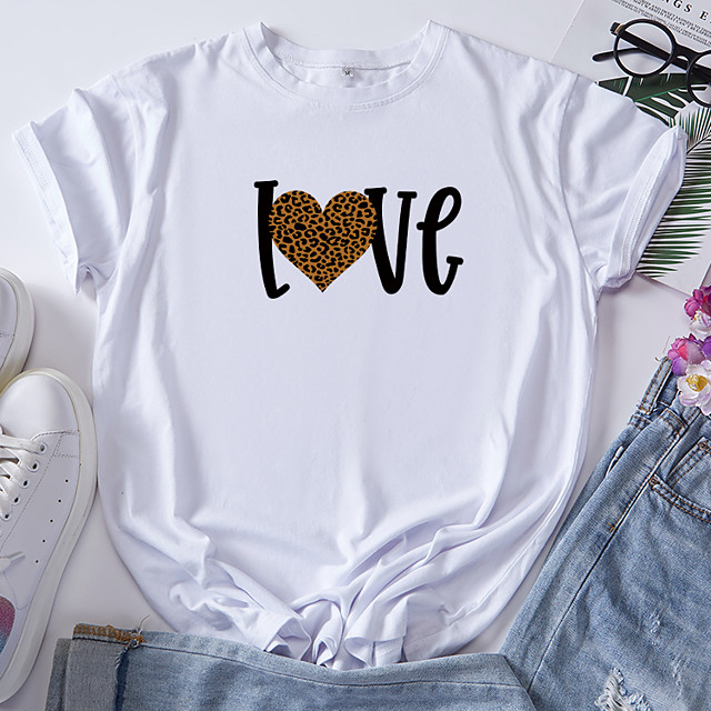 Women's T shirt Graphic Heart Letter Print Round Neck Tops 100% Cotton Basic Basic Top White Black Blue