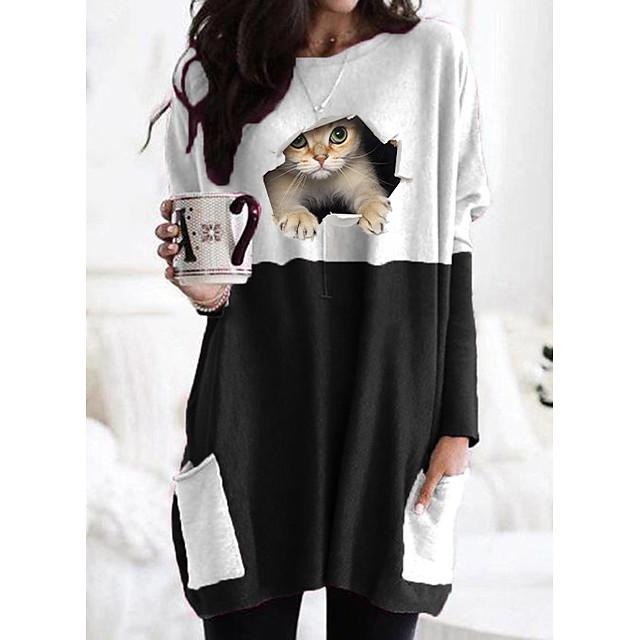 Women's T shirt Dress Cat Graphic 3D Long Sleeve Patchwork Print Round Neck Tops Basic Basic Top Black Gray