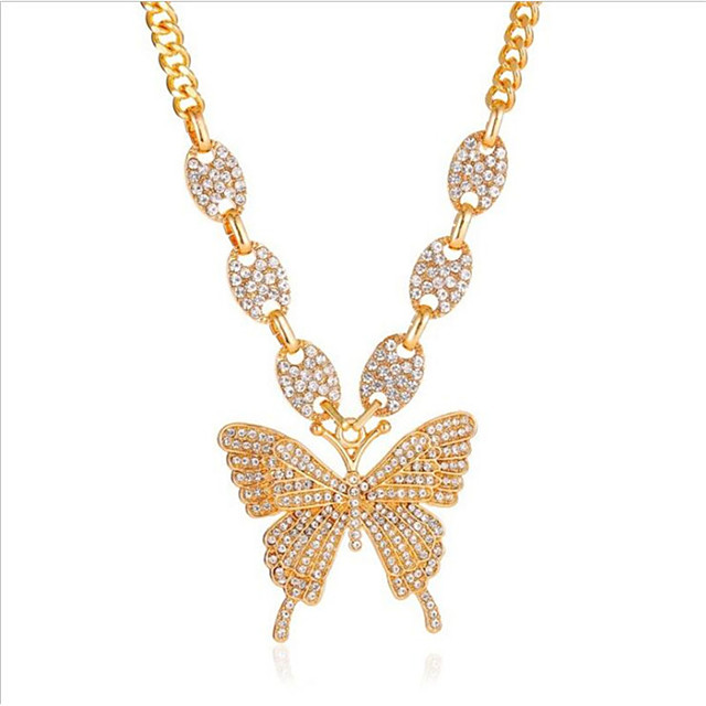 Women's Cubic Zirconia Pendant Necklace Classic Butterfly Fashion Alloy Black Blushing Pink Gold Silver 45+5 cm Necklace Jewelry 1pc For Anniversary Party Evening Gift Festival