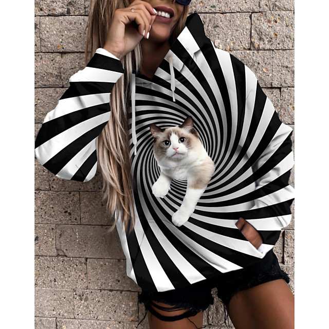 Women's Pullover Hoodie Sweatshirt Cat Graphic 3D Front Pocket Print Daily 3D Print Basic Casual Hoodies Sweatshirts  Black