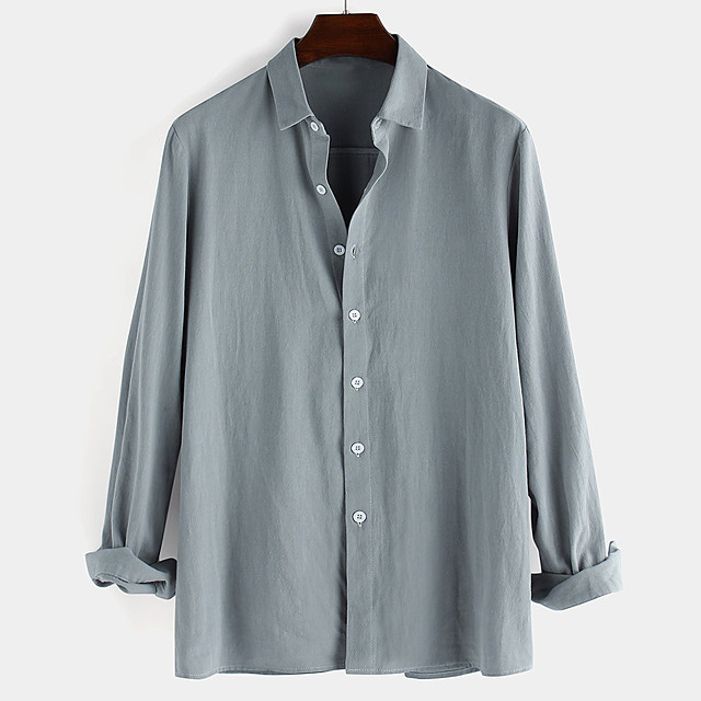 Men's Shirt non-printing Solid Colored Button-Down Long Sleeve Daily Tops 100% Cotton Casual White Black Blue