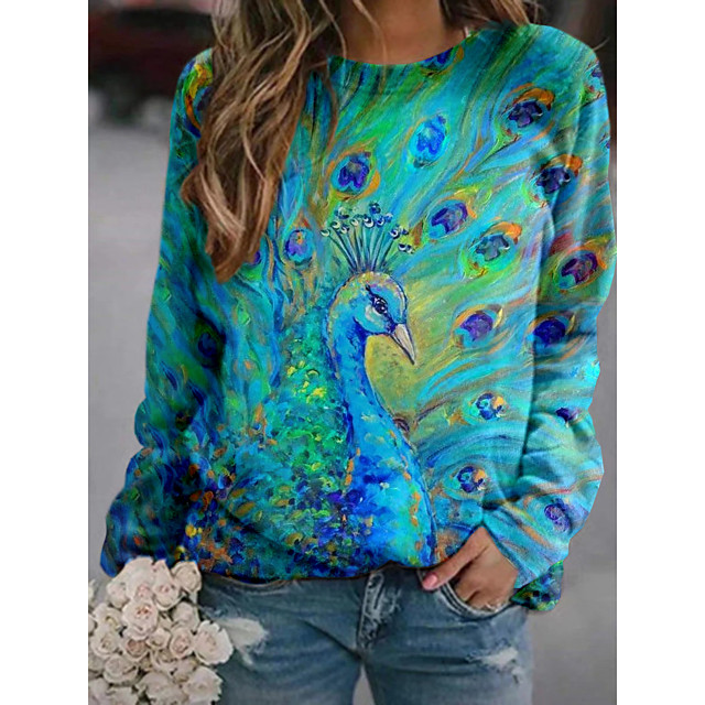 Women's Pullover Sweatshirt Graphic 3D Animal Print Daily 3D Print Basic Casual Hoodies Sweatshirts  Green