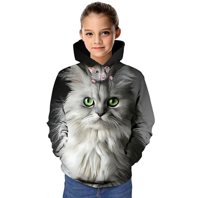 Kids Girls' Hoodie & Sweatshirt Long Sleeve Cat Graphic 3D Animal Print Children Tops Active Gray