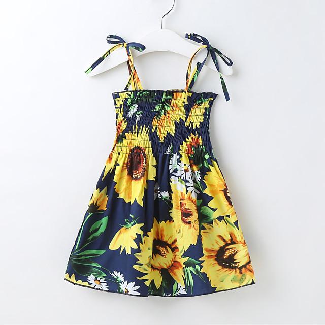 أطفال القليل للفتيات فستان ورد النباتات مكشكش رباط طباعة أبيض أسود أصفر طول الركبة بدون كم لطيف بوهو فساتين عادي