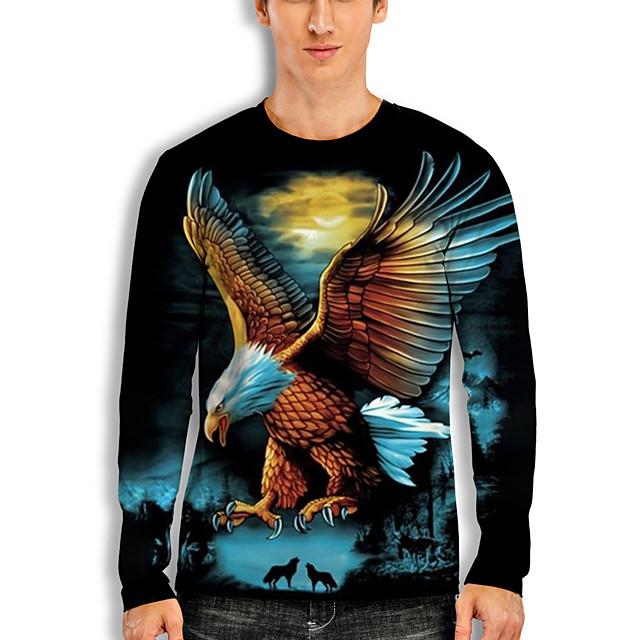 Men's T shirt 3D Print Graphic Animal Print Long Sleeve Daily Tops Basic Casual Black