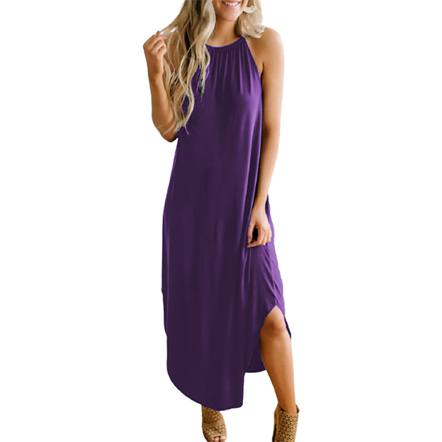 Women's Strap Dress Maxi long Dress Black Purple Red Royal Blue Sleeveless Solid Color Patchwork Spring Summer Halter Neck Casual Sexy vacation dresses 2021 S M L XL XXL 3XL
