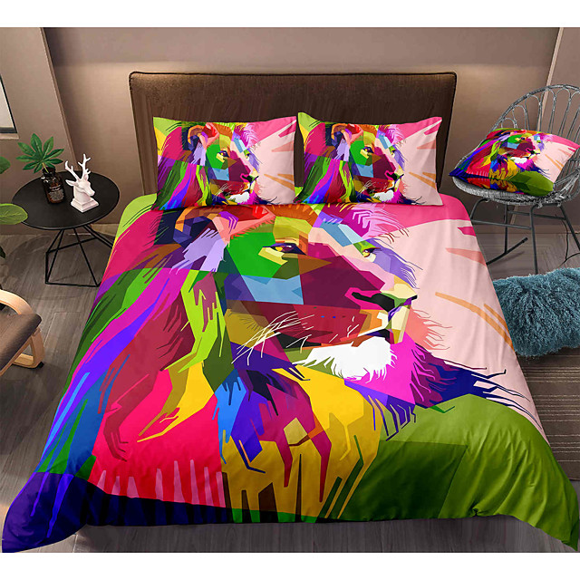 Lion Print 3-Piece Duvet Cover Set Hotel Bedding Sets Comforter Cover with Soft Lightweight Microfiber, Include 1 Duvet Cover, 2 Pillowcases for Double/Queen/King(1 Pillowcase for Twin/Single)
