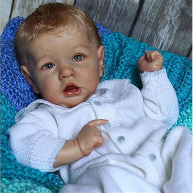 22 pouce Poupée Reborn Jouet pour Bébé & Nourrisson Poupée bébé Reborn Saskia réaliste Fabrication à la main Simulation Tissu Vinyle de silicone cadeaux noël enfant avec vêtements et accessoires pour