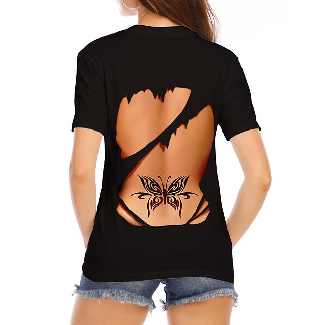Dames T-shirt Grafisch 3D Opdruk Ronde hals Tops 100% katoen Basic Sexy Basis-top Wit Zwart