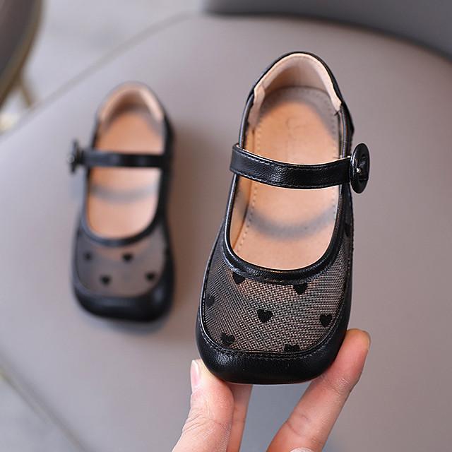 للفتيات اخفاف أحذية الأميرة PU الأطفال الصغار (4-7 سنوات) مناسب للبس اليومي المشي اللوز أسود الخريف الربيع / تو مربع