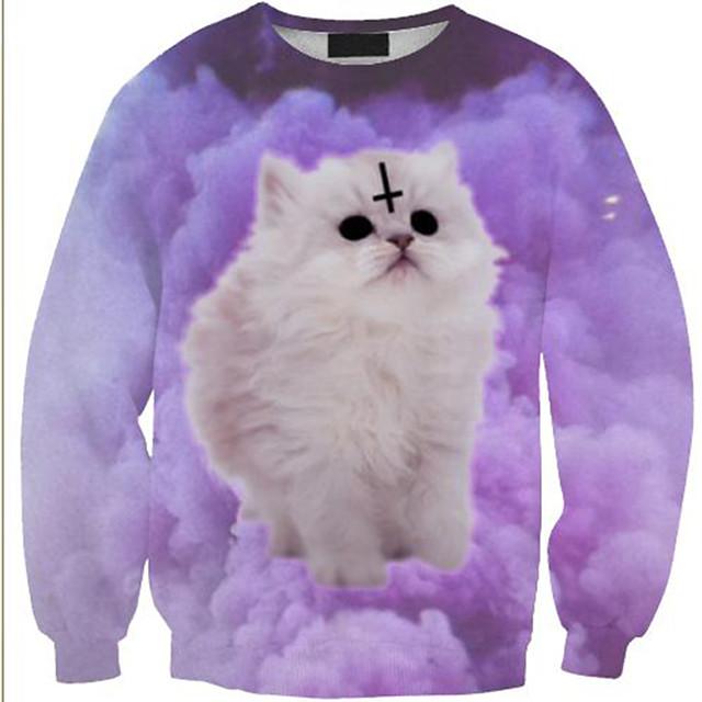 Women's Pullover Sweatshirt Cat Graphic 3D Print Daily 3D Print Basic Casual Hoodies Sweatshirts  Purple