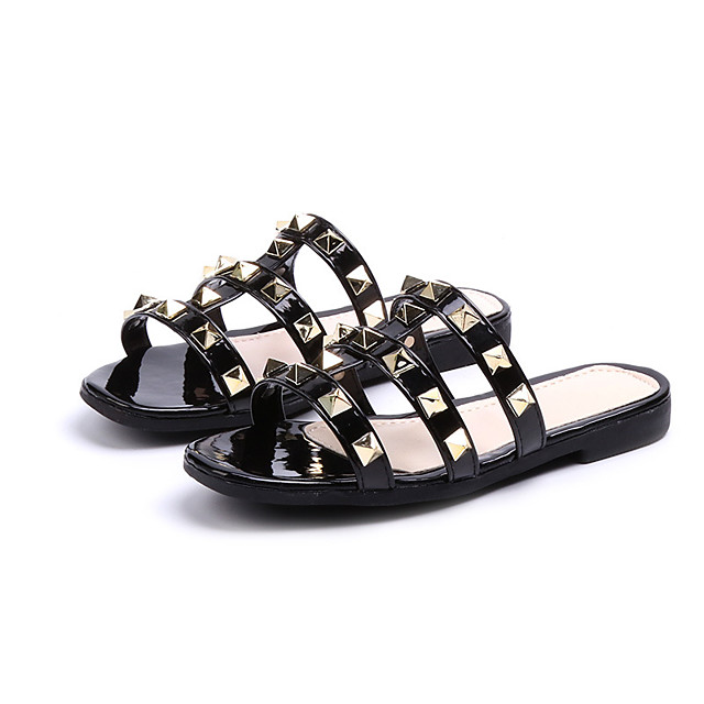 Girls' Slippers & Flip-Flops Princess Shoes PU Little Kids(4-7ys) Daily Walking Shoes Black Red Summer