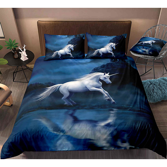 Horse Print 3-Piece Duvet Cover Set Hotel Bedding Sets Comforter Cover with Soft Lightweight Microfiber, Include 1 Duvet Cover, 2 Pillowcases for Double/Queen/King(1 Pillowcase for Twin/Single)