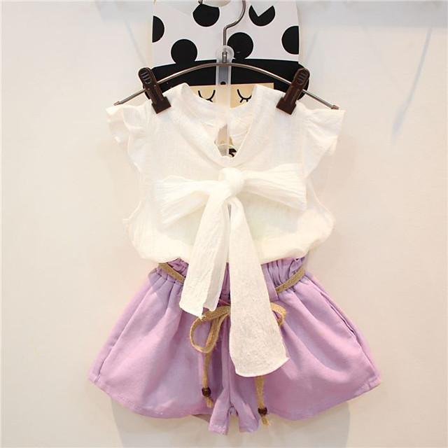 Kids Girls' Clothing Set Floral Long Sleeve Sleeveless Bow Print Cotton Daily Wear Blushing Pink Active Basic Regular