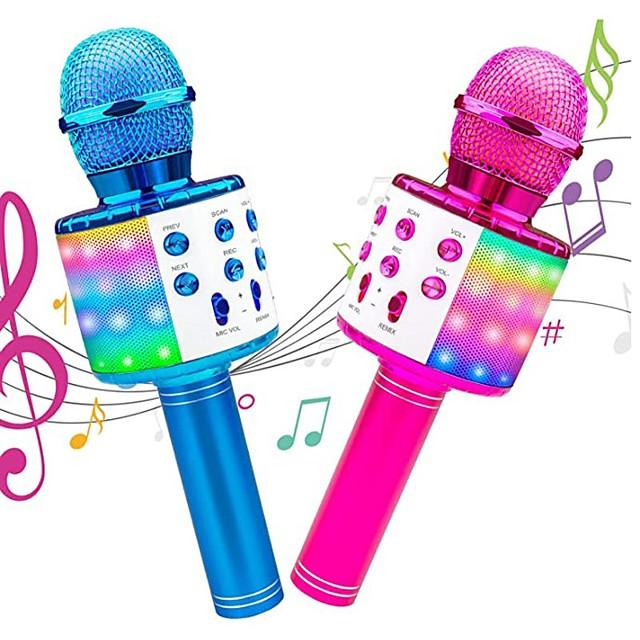 Microphone sans fil karaoké Machine de karaoké portable Bluetooth avec LED Compatible Android / iPhone Plastique Garçons et filles Enfants Adultes 2 pcs Cadeaux de fin d'études Jouet Cadeau