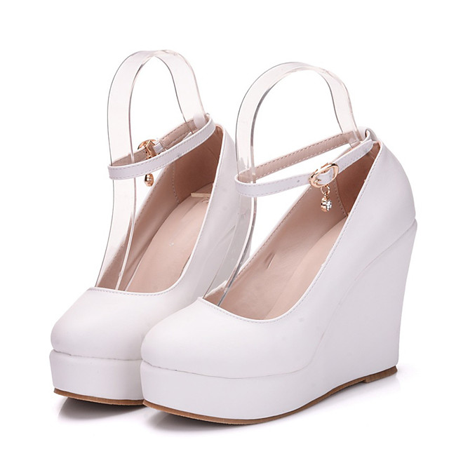 Women's Heels Wedge Heel Pointed Toe Sexy Minimalism Roman Shoes Wedding Party & Evening PU Solid Colored White
