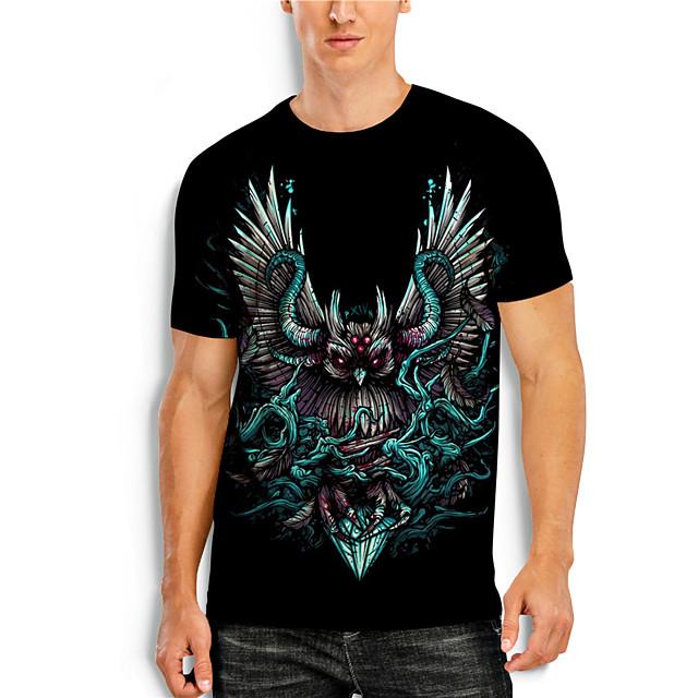 Men's T shirt 3D Print 3D Animal 3D Print Short Sleeve Daily Tops Casual Black