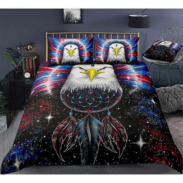 Eagle Print 3-Piece Duvet Cover Set Hotel Bedding Sets Comforter Cover with Soft Lightweight Microfiber, Include 1 Duvet Cover, 2 Pillowcases for Double/Queen/King(1 Pillowcase for Twin/Single)
