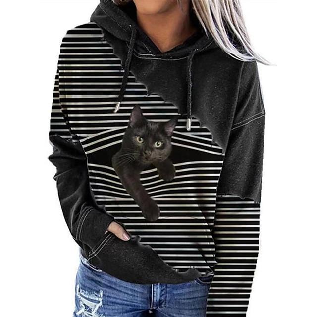 Women's Pullover Hoodie Sweatshirt Cat Graphic 3D Front Pocket Print Daily 3D Print Basic Casual Hoodies Sweatshirts  Black