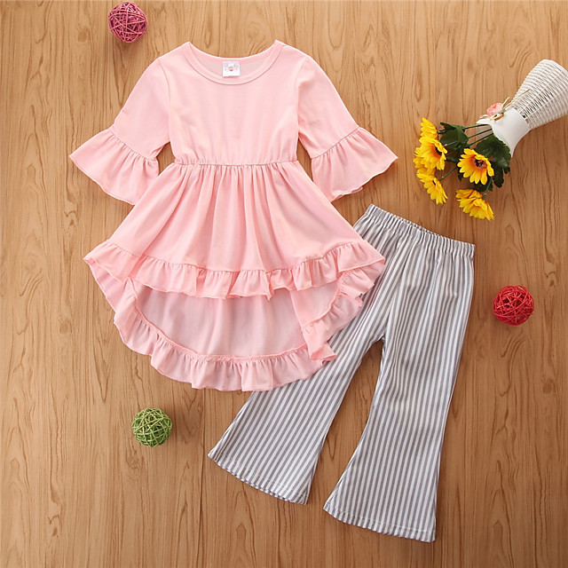 أطفال للفتيات مجموعة ملابس لون سادة كشكش بقع كم طويل أساسي عادية عادية وردي بلاشيهغ