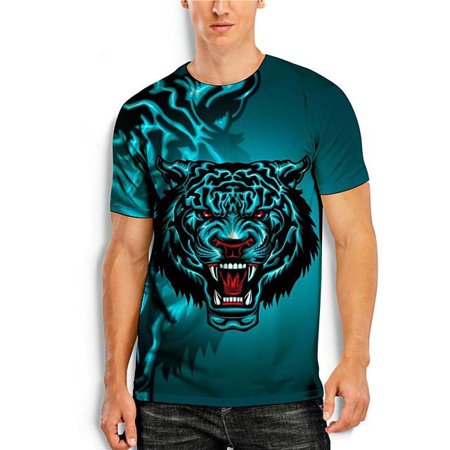 Men's T shirt 3D Print 3D Tiger Animal 3D Print Short Sleeve Daily Tops Casual Blue