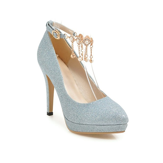 Women's Wedding Shoes Stiletto Heel Pointed Toe Wedding Pumps Wedding Daily PU Synthetics Blue Pink Gold