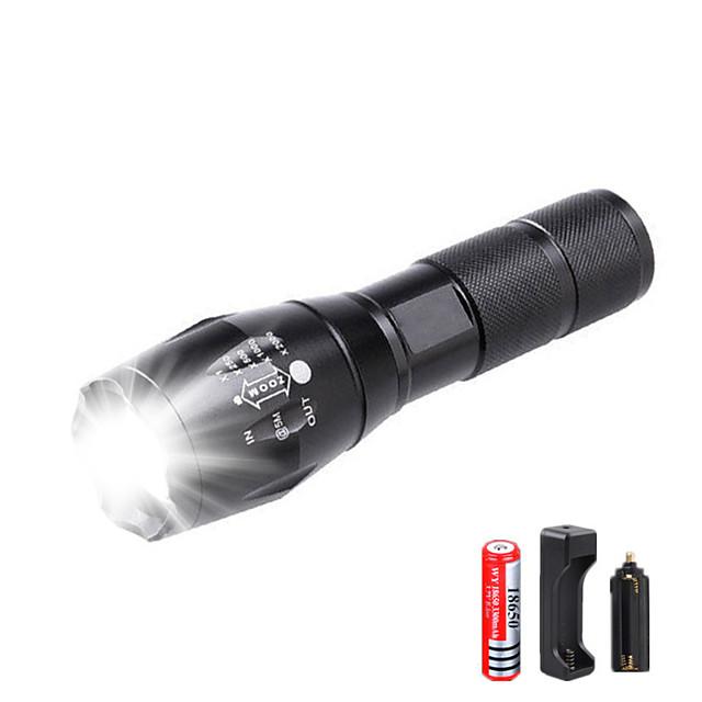 Lampes Torches LED Imperméable Fonction Zoom 3000 lm LED LED Émetteurs 5 Mode d'Eclairage avec Pile et Chargeur Imperméable Fonction Zoom Rechargeable Faisceau Ajustable Ultra léger Haute Puissance