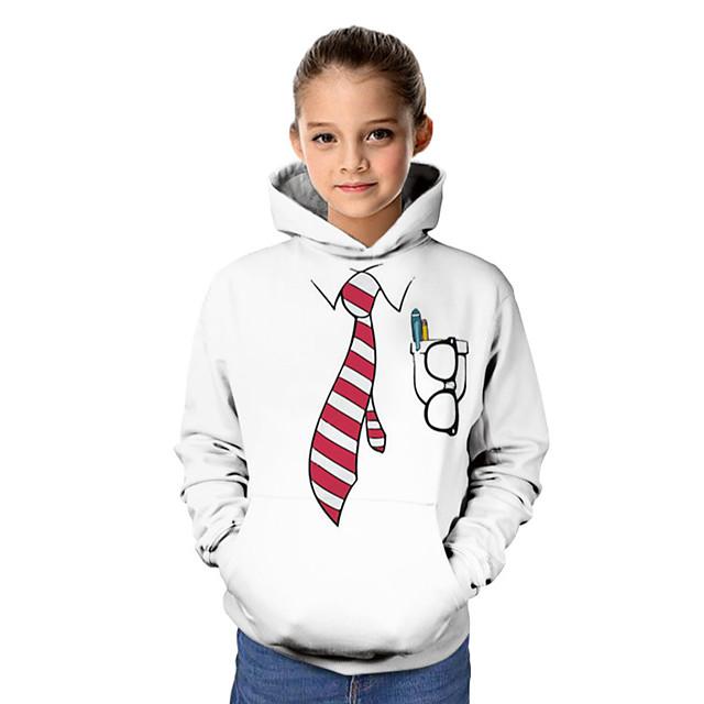 Kids Girls' Hoodie & Sweatshirt Long Sleeve Graphic 3D Print Children Tops Active White