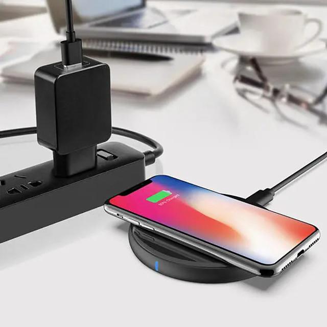 WAZA 15 W Puissance de sortie Pad de chargement sans fil Chargeur Sans Fil avec câble QC 3.0 Chargeur Sans Fil Invalide Pour Apple iPhone 12 11 pro SE X XS XR 8 Samsung Glaxy S21 Ultra S20 Plus S10