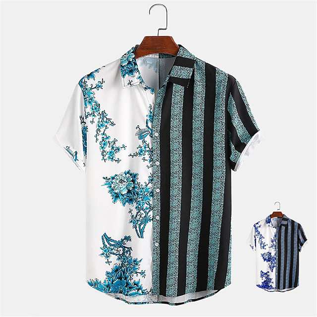 Men's Shirt Other Prints Color Block Button-Down Print Short Sleeve Daily Tops Casual Hawaiian Blue Green