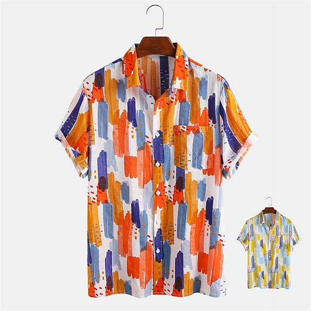 رجالي قميص مطبوعات أخرى الكتابة على الجدران زر أسفل طباعة كم قصير مناسب للبس اليومي قمم كاجوال ستايل هاواي أصفر برتقالي