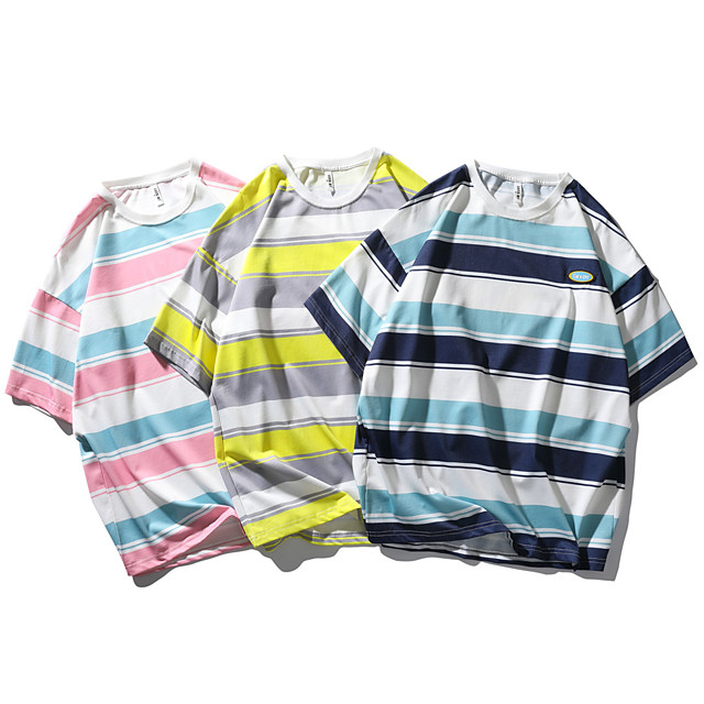 Men's T shirt Other Prints Striped Graphic Prints Print Short Sleeve Daily Tops Casual Beach Blue Yellow Blushing Pink