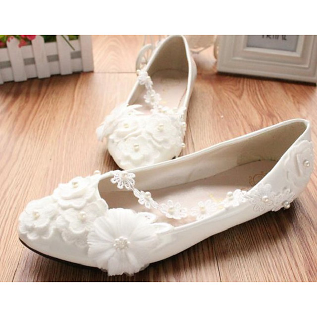 Women's Wedding Shoes Flat Heel Round Toe Wedding Flats Wedding Walking Shoes PU Pearl Floral Flat bottom [2020 version standard code] 3 cm heel [standard size] 5 cm heel [standard size]