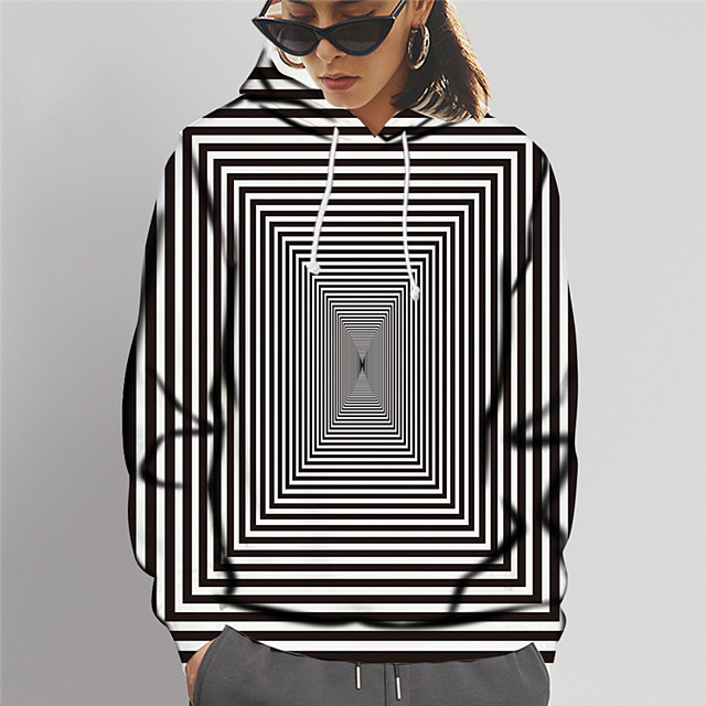 Dames Trui met capuchon Grafisch 3D Opdruk Dagelijks Uitgaan 3D-afdrukken Basic Hoodies Sweatshirts Zwart