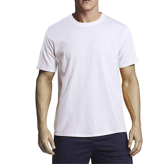 Men's Unisex T shirt Other Prints Solid Colored Plain Plus Size Short Sleeve Daily Tops 100% Cotton Basic Casual White Black Blue