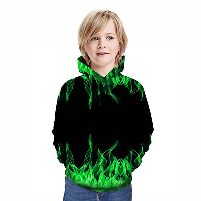 Kids Boys' Hoodie & Sweatshirt Long Sleeve Patchwork Geometric 3D Print Green Children Tops Active Streetwear New Year