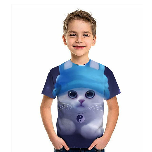 Kids Boys' T shirt Tee Short Sleeve Cat Graphic 3D Animal Print Children Tops Active Dusty Blue