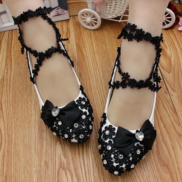 Women's Wedding Shoes Flat Heel Round Toe Wedding Flats Wedding Walking Shoes PU Floral 3 cm heel [standard size] 5 cm heel [standard size] 8 cm heel [standard size]