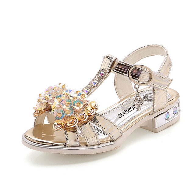 Girls' Sandals Princess Shoes PU Little Kids(4-7ys) Big Kids(7years +) Daily Walking Shoes Pink Gold Summer