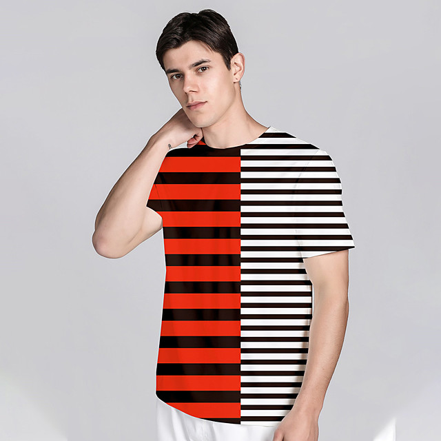 Men's T shirt 3D Print Striped Graphic Prints 3D Print Short Sleeve Daily Tops Casual Beach Red / White