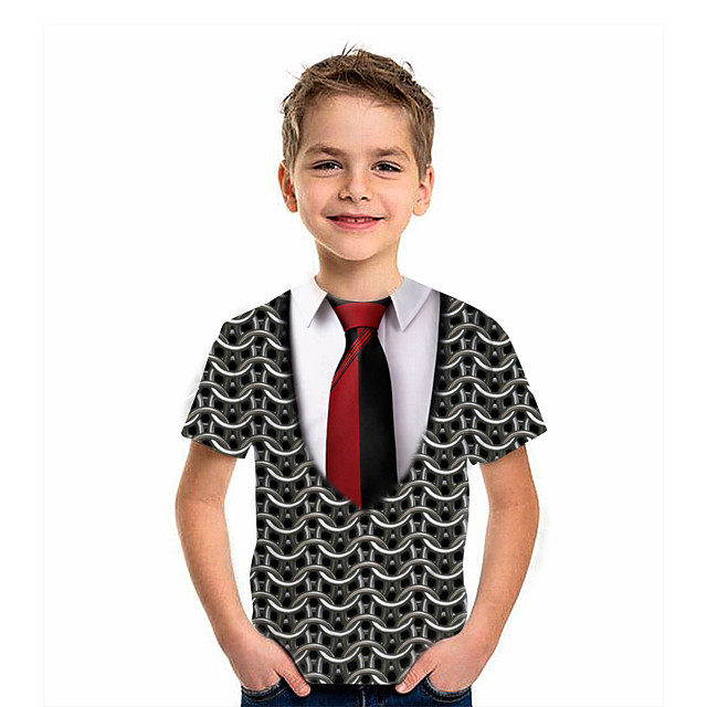 Kids Boys' T shirt Tee Short Sleeve Graphic 3D Print Children Tops Active Black