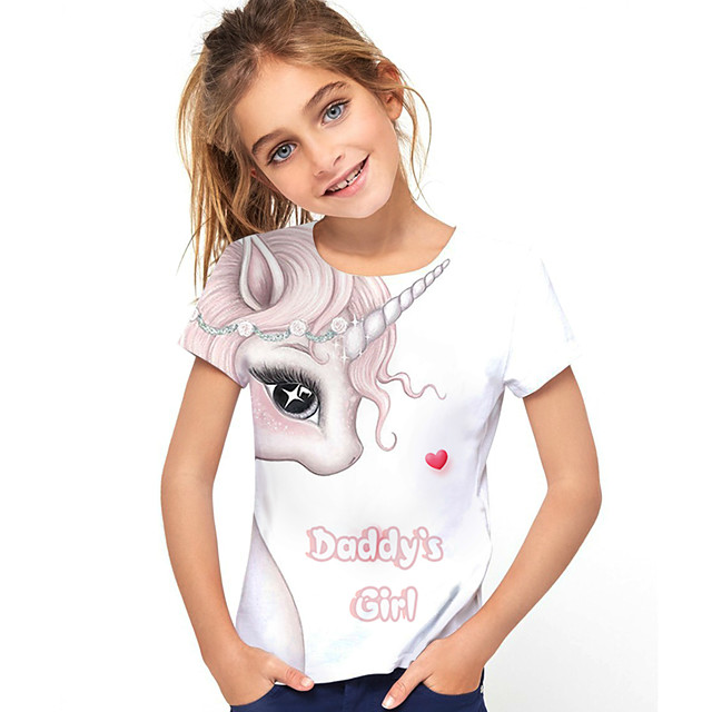 Kids Girls' T shirt Tee Short Sleeve Horse Graphic 3D Letter Print Children Tops Active White