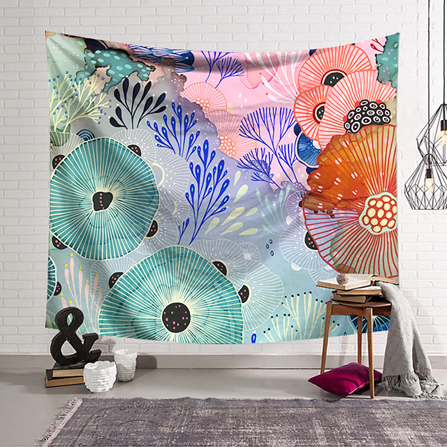 Wall Tapestry Art Decor Blanket Curtain Hanging Home Bedroom Living Room Decoration Polyester Retro Tropical Leaves Colorful Lotus