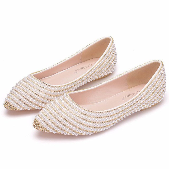 Women's Wedding Shoes Flat Heel Pointed Toe Wedding Flats Vintage Sexy Minimalism Wedding Party & Evening PU Rhinestone Pearl Sparkling Glitter Solid Colored Beige