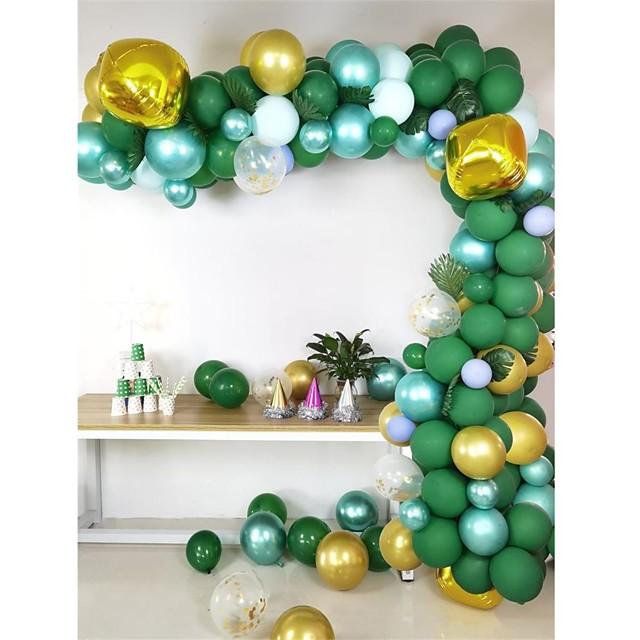 safari jungle thema feestartikelen - ballon boog kit slinger decoraties - 118 stuks groen goud metallic witte ballonnen met palmbladeren 16ft, babyshower, jarige& meisje partij achtergrond diy