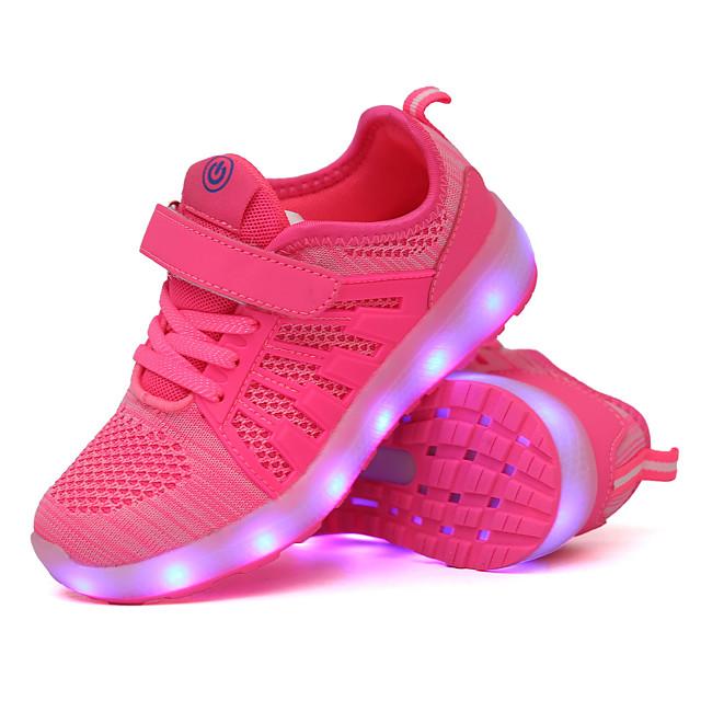 Chico Chica Zapatillas de Atletismo Confort Zapatos con luz Carga USB Tela Elástica Niños pequeños (4-7ys) Niños grandes (7 años +) Diario Paseo Negro Rosa Verde Otoño Primavera