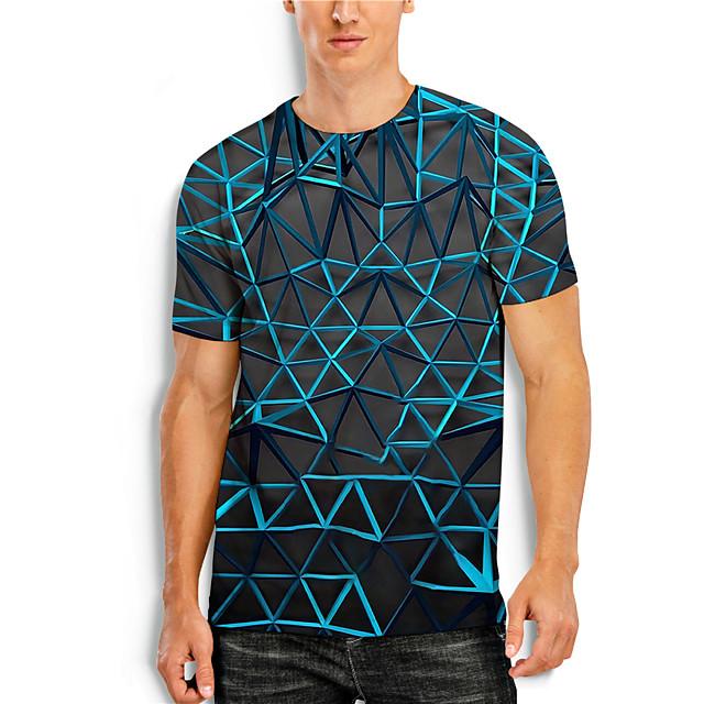 Men's T shirt 3D Print 3D Geometry 3D Print Short Sleeve Daily Tops Casual Blue